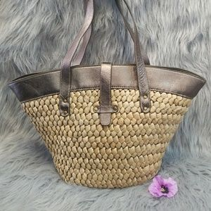 J. Crew Wicker & Leather Tote